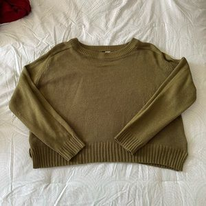 Olive green cropped sweater